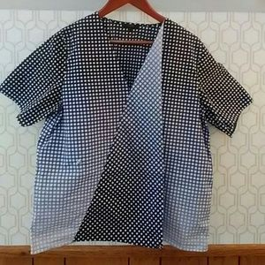 COS asymmetrical blue/white geometric print blouse